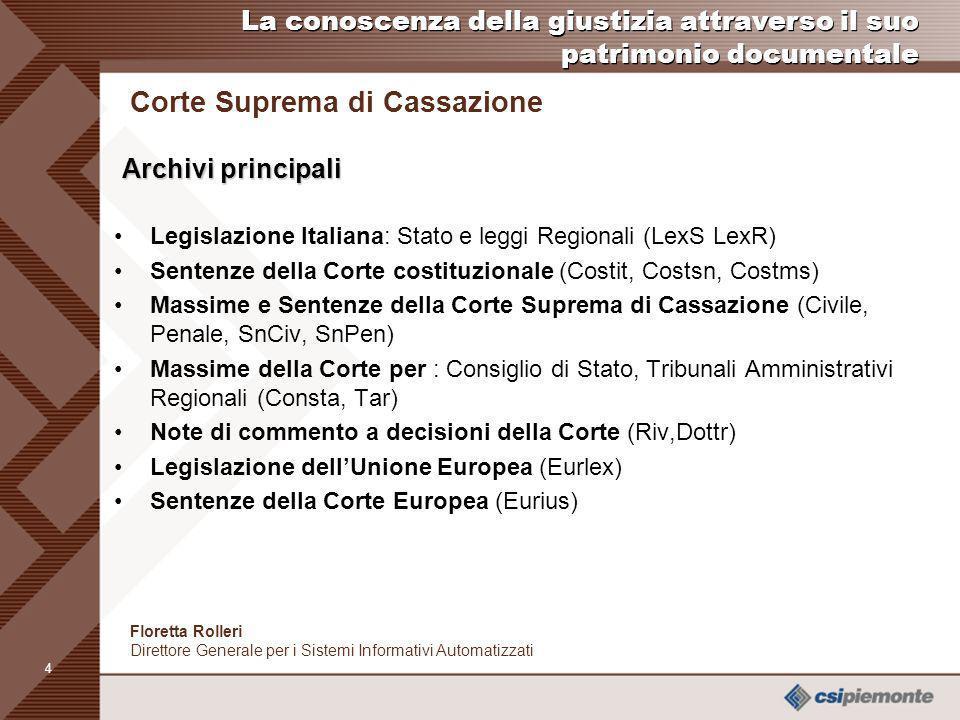 3 Floretta Rolleri Direttore Generale per i Sistemi Informativi Automatizzati Corte Suprema di Cassazione Archivi Numero degli archivi in linea: 29 To