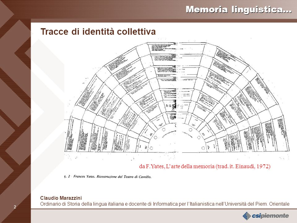 1 Claudio Marazzini Ordinario di Storia della lingua italiana e docente di Informatica per lItalianistica nellUniversità del Piem.