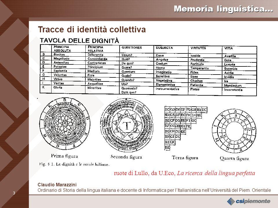 13 Claudio Marazzini Ordinario di Storia della lingua italiana e docente di Informatica per lItalianistica nellUniversità del Piem.