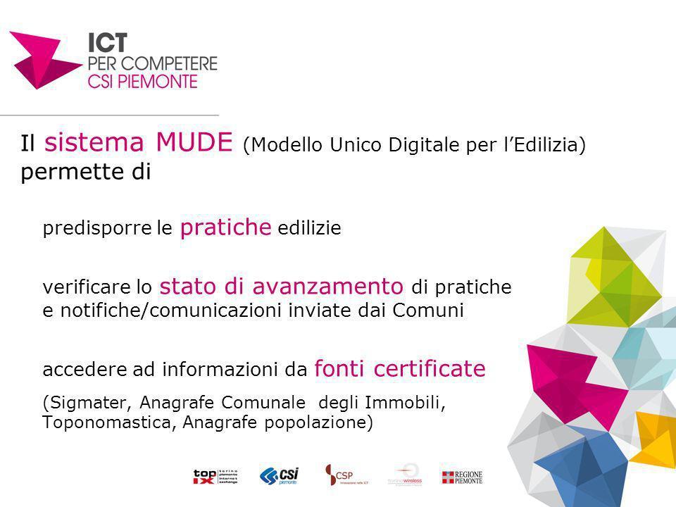 Il sistema MUDE (Modello Unico Digitale per lEdilizia) permette di predisporre le pratiche edilizie verificare lo stato di avanzamento di pratiche e n