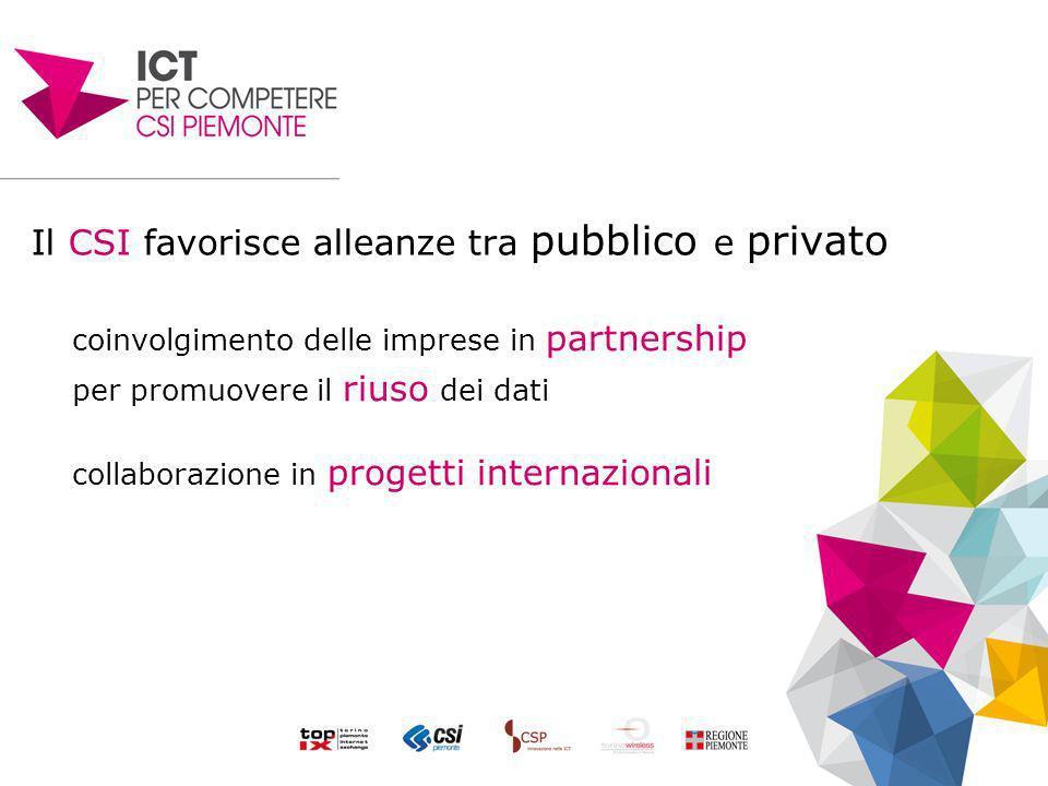 Il CSI favorisce alleanze tra pubblico e privato coinvolgimento delle imprese in partnership per promuovere il riuso dei dati collaborazione in progetti internazionali
