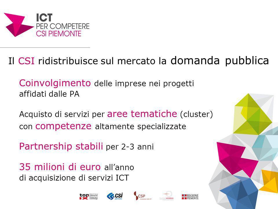 Il CSI ridistribuisce sul mercato la domanda pubblica Coinvolgimento delle imprese nei progetti affidati dalle PA Acquisto di servizi per aree tematiche (cluster) con competenze altamente specializzate Partnership stabili per 2-3 anni 35 milioni di euro allanno di acquisizione di servizi ICT