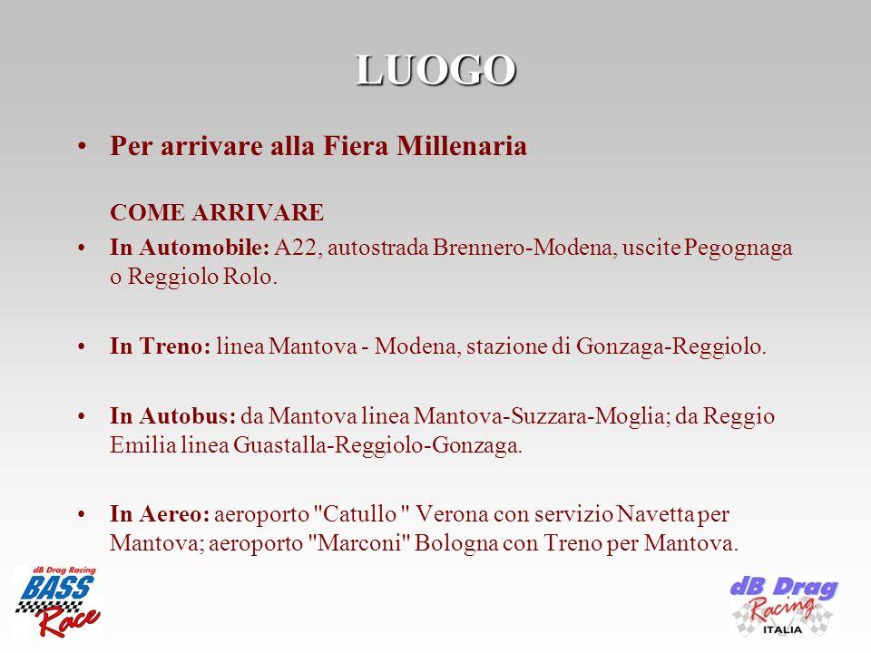 LUOGO Per arrivare alla Fiera Millenaria COME ARRIVARE In Automobile: A22, autostrada Brennero-Modena, uscite Pegognaga o Reggiolo Rolo.