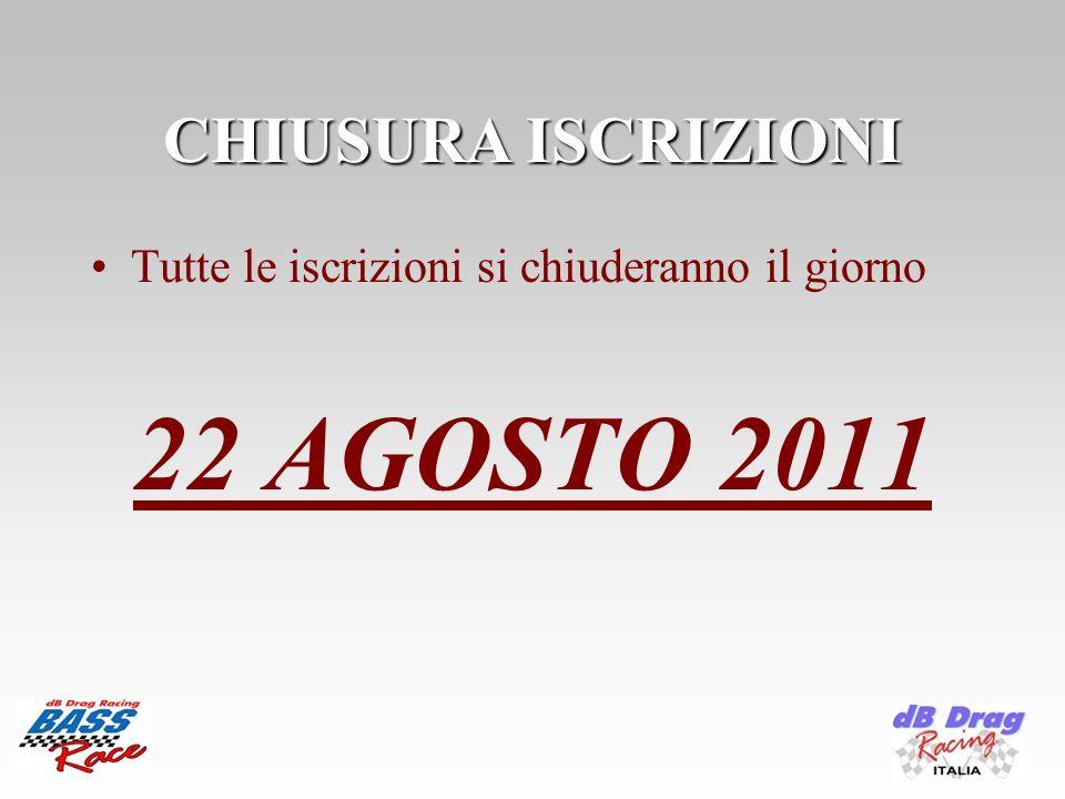 CHIUSURA ISCRIZIONI Tutte le iscrizioni si chiuderanno il giorno 22 AGOSTO 2011