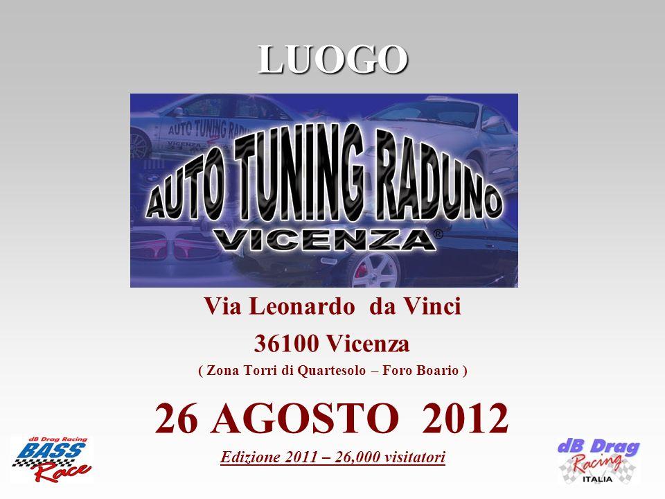 LUOGO Via Leonardo da Vinci 36100 Vicenza ( Zona Torri di Quartesolo – Foro Boario ) 26 AGOSTO 2012 Edizione 2011 – 26,000 visitatori