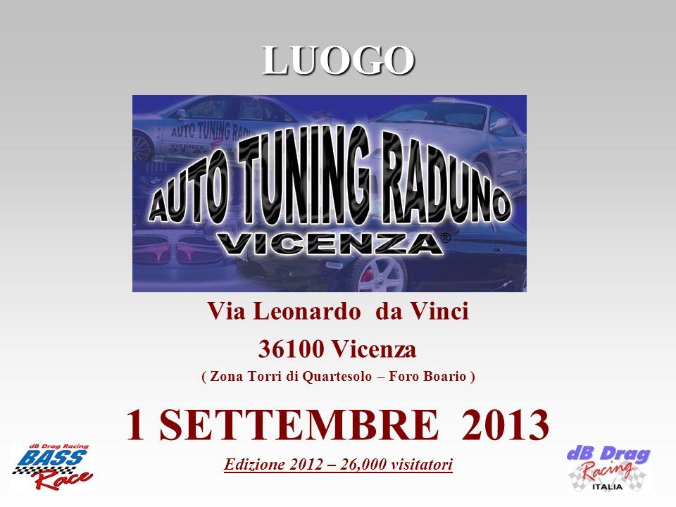 LUOGO Via Leonardo da Vinci 36100 Vicenza ( Zona Torri di Quartesolo – Foro Boario ) 1 SETTEMBRE 2013 Edizione 2012 – 26,000 visitatori