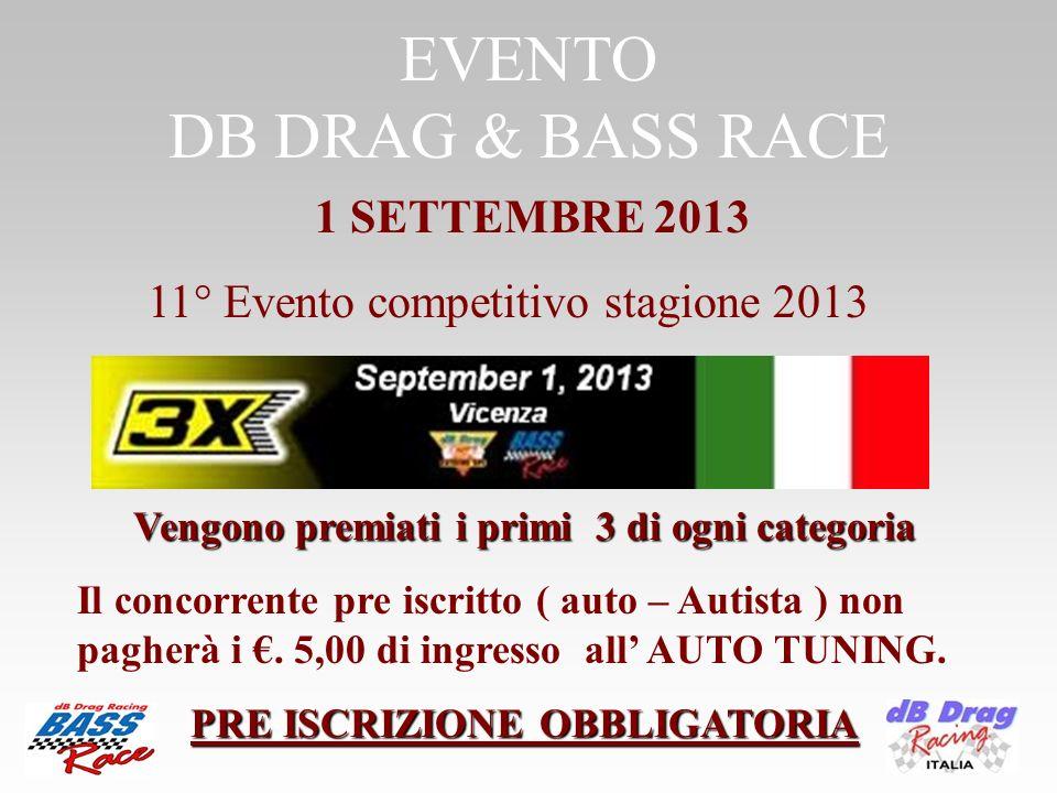 EVENTO DB DRAG & BASS RACE Vengono premiati i primi 3 di ogni categoria Vengono premiati i primi 3 di ogni categoria Il concorrente pre iscritto ( aut