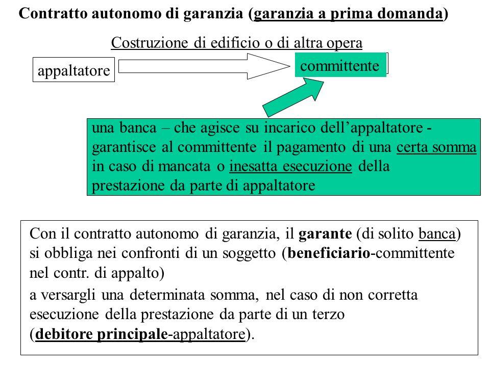 Contratto autonomo di garanzia (garanzia a prima domanda) appaltatore committente Con il contratto autonomo di garanzia, il garante (di solito banca)