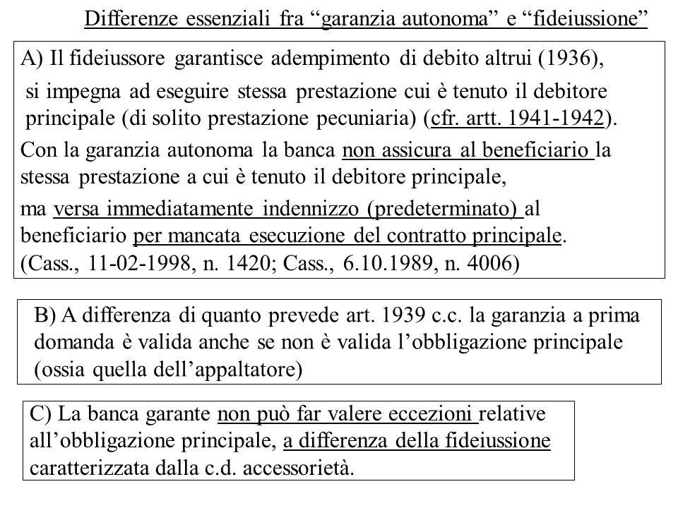 Differenze essenziali fra garanzia autonoma e fideiussione A) Il fideiussore garantisce adempimento di debito altrui (1936), Con la garanzia autonoma