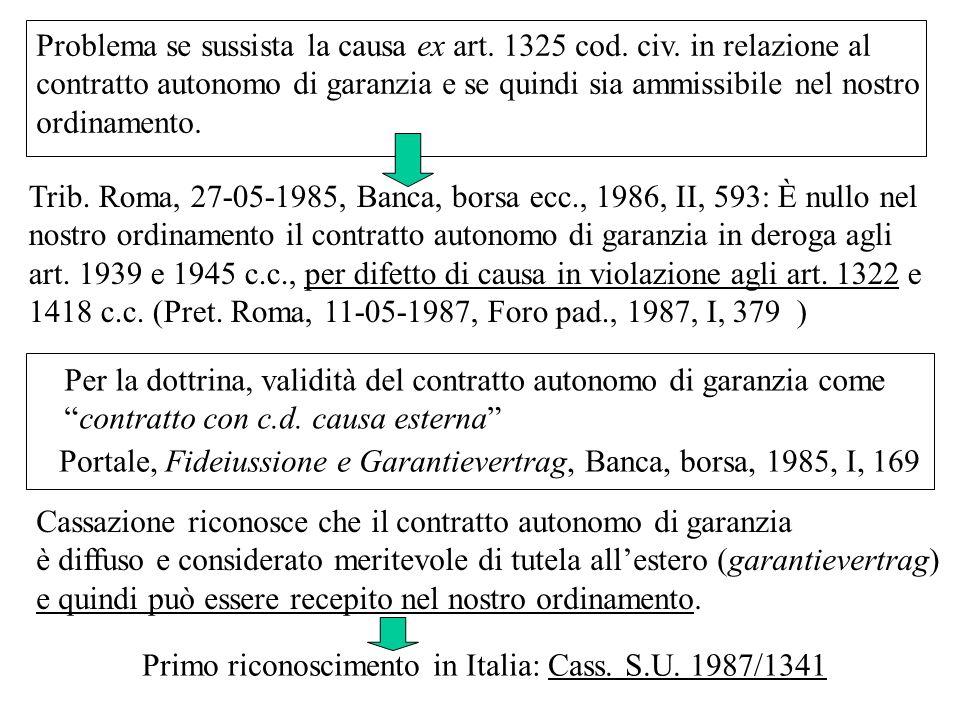Trib. Roma, 27-05-1985, Banca, borsa ecc., 1986, II, 593: È nullo nel nostro ordinamento il contratto autonomo di garanzia in deroga agli art. 1939 e