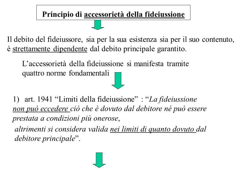 Il debito del fideiussore, sia per la sua esistenza sia per il suo contenuto, è strettamente dipendente dal debito principale garantito. Laccessorietà