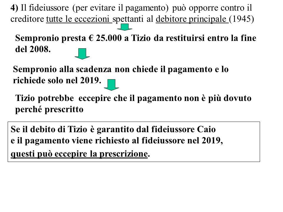 4) Il fideiussore (per evitare il pagamento) può opporre contro il creditore tutte le eccezioni spettanti al debitore principale (1945) Sempronio pres
