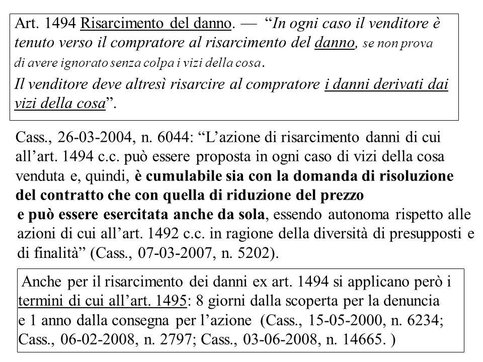 Cass., 26-03-2004, n.6044: Lazione di risarcimento danni di cui allart.
