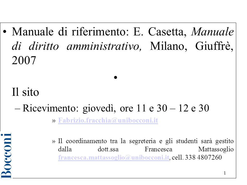 1 Diritto amministrativo a.a.2006/2007 Manuale di riferimento: E.