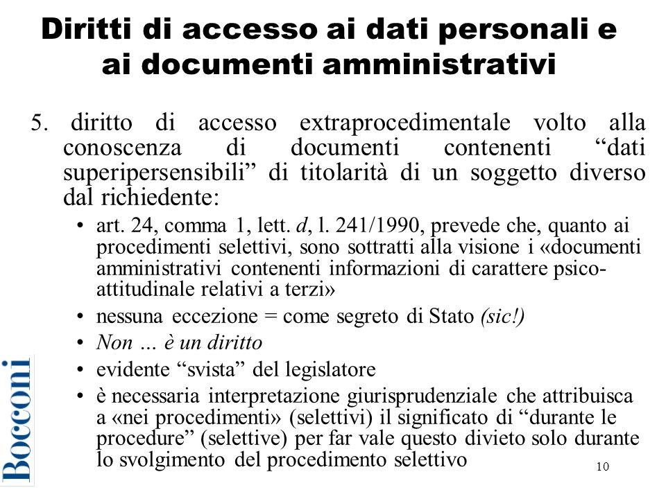 10 Diritti di accesso ai dati personali e ai documenti amministrativi 5.