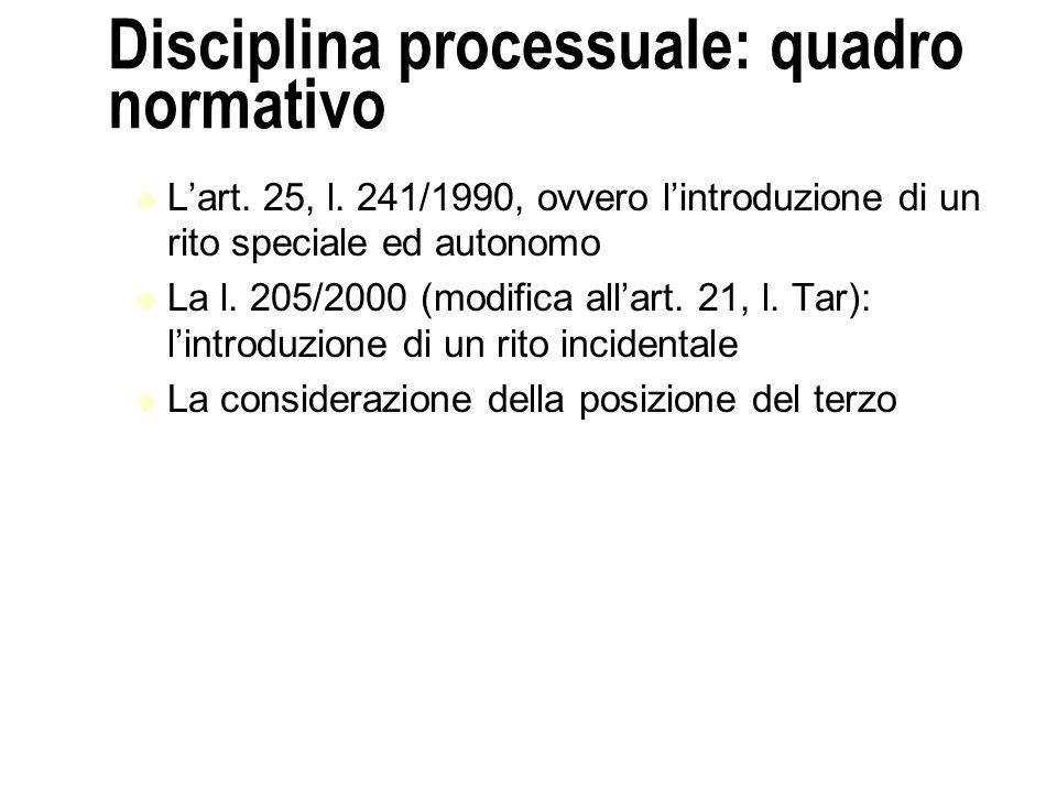 Disciplina processuale: quadro normativo Lart.25, l.