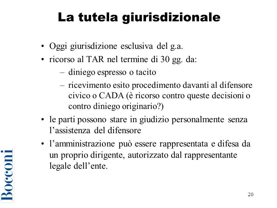 20 La tutela giurisdizionale Oggi giurisdizione esclusiva del g.a.