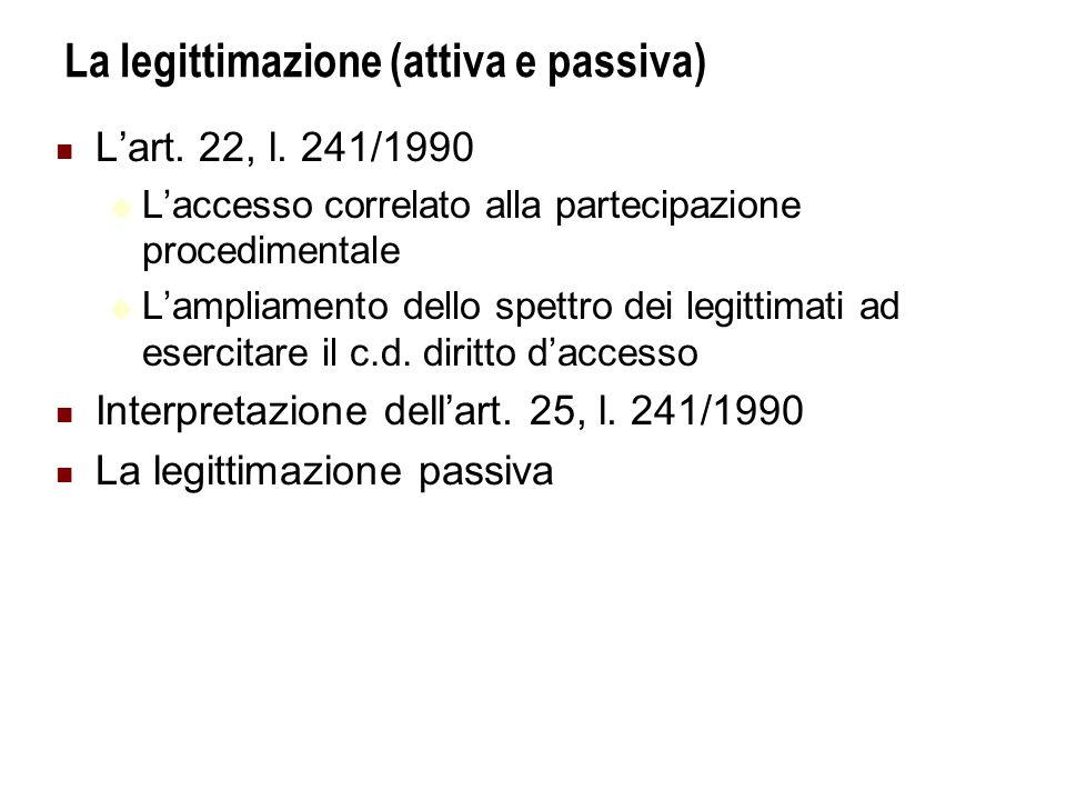 La legittimazione (attiva e passiva) Lart.22, l.