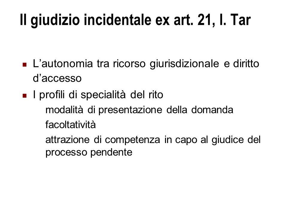 Il giudizio incidentale ex art.21, l.