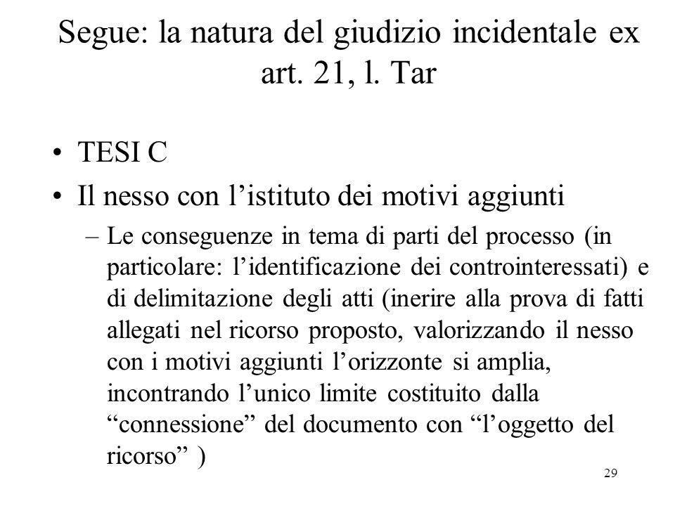 29 Segue: la natura del giudizio incidentale ex art.