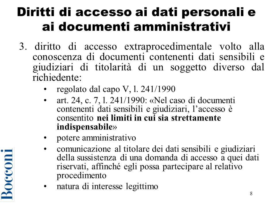 9 Diritti di accesso ai dati personali e ai documenti amministrativi 4.