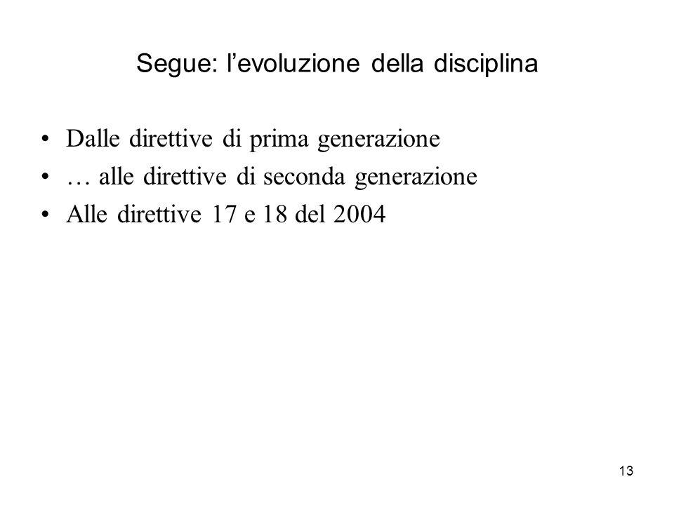 13 Segue: levoluzione della disciplina Dalle direttive di prima generazione … alle direttive di seconda generazione Alle direttive 17 e 18 del 2004