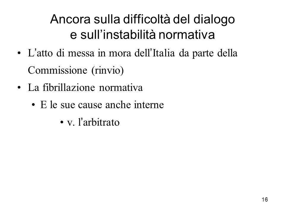 16 Ancora sulla difficoltà del dialogo e sullinstabilità normativa L atto di messa in mora dell Italia da parte della Commissione (rinvio) La fibrilla