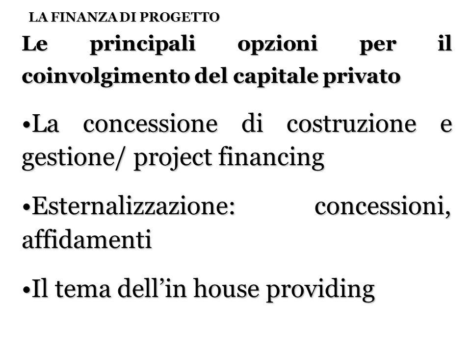 18 LA FINANZA DI PROGETTO Le principali opzioni per il coinvolgimento del capitale privato La concessione di costruzione e gestione/ project financing