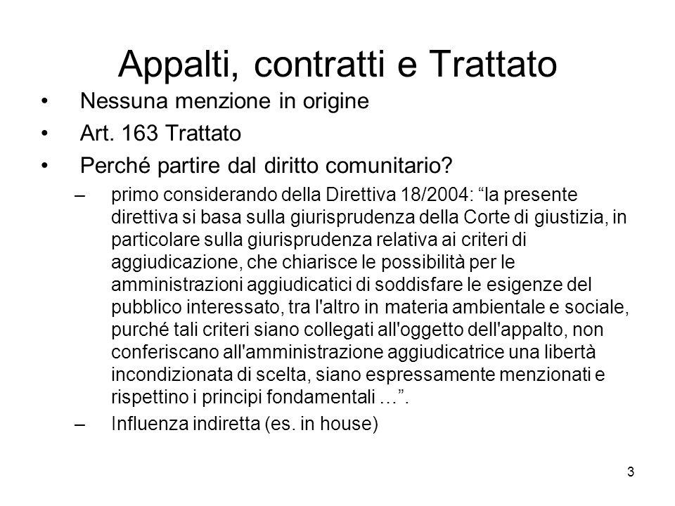 3 Appalti, contratti e Trattato Nessuna menzione in origine Art. 163 Trattato Perché partire dal diritto comunitario? –primo considerando della Dirett