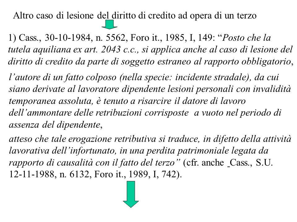 1) Cass., 30-10-1984, n. 5562, Foro it., 1985, I, 149: Posto che la tutela aquiliana ex art. 2043 c.c., si applica anche al caso di lesione del diritt