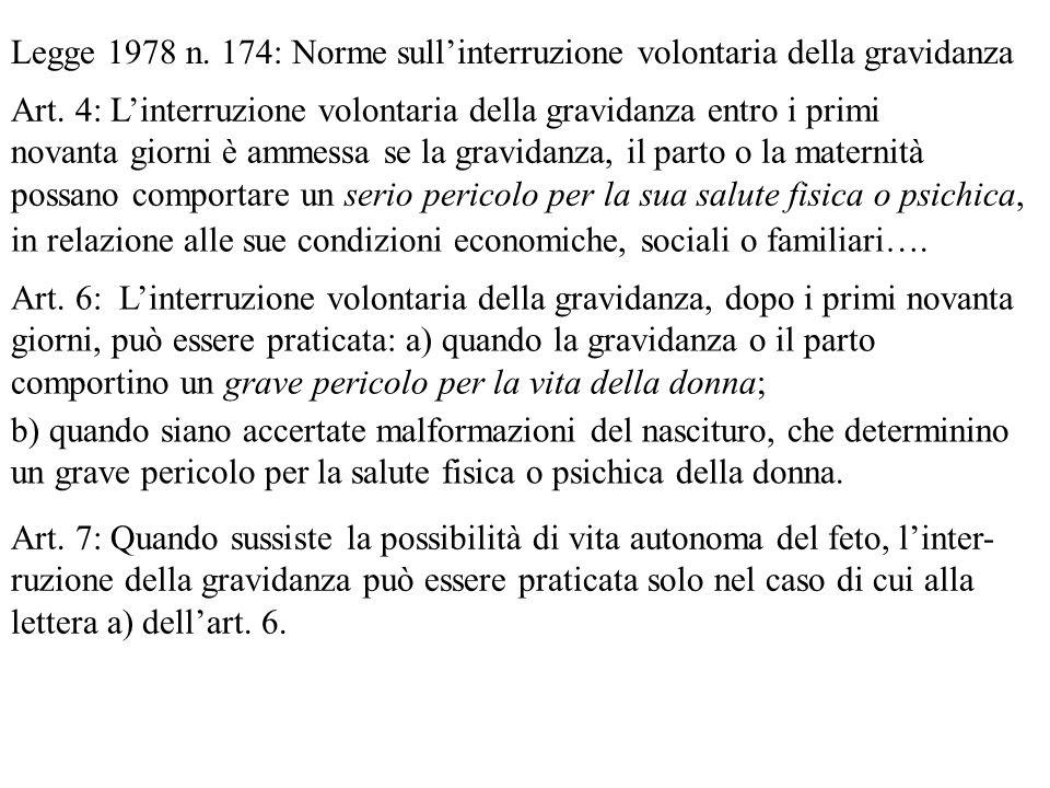 Legge 1978 n. 174: Norme sullinterruzione volontaria della gravidanza Art. 4: Linterruzione volontaria della gravidanza entro i primi novanta giorni è