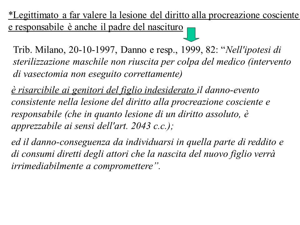 Trib. Milano, 20-10-1997, Danno e resp., 1999, 82: Nell'ipotesi di sterilizzazione maschile non riuscita per colpa del medico (intervento di vasectomi