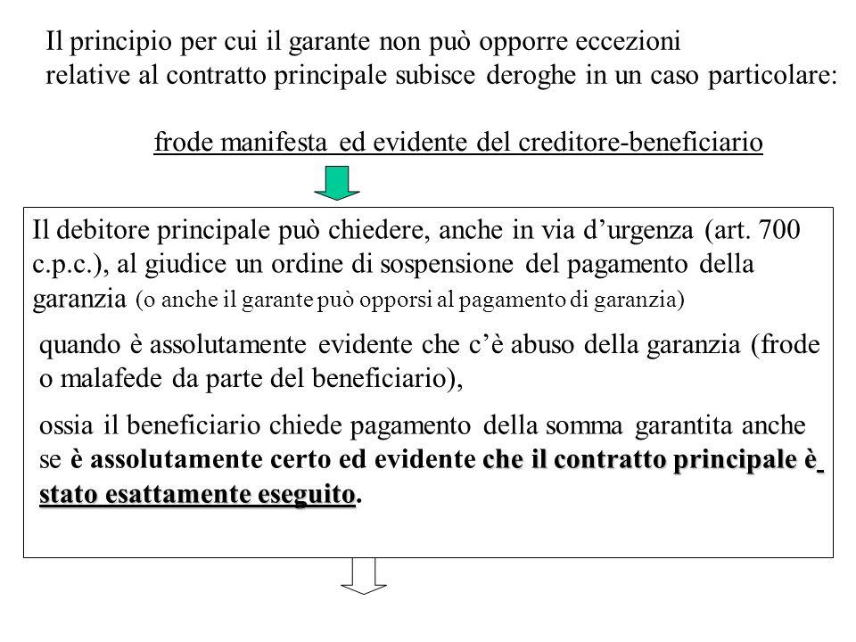 frode manifesta ed evidente del creditore-beneficiario Il debitore principale può chiedere, anche in via durgenza (art. 700 c.p.c.), al giudice un ord