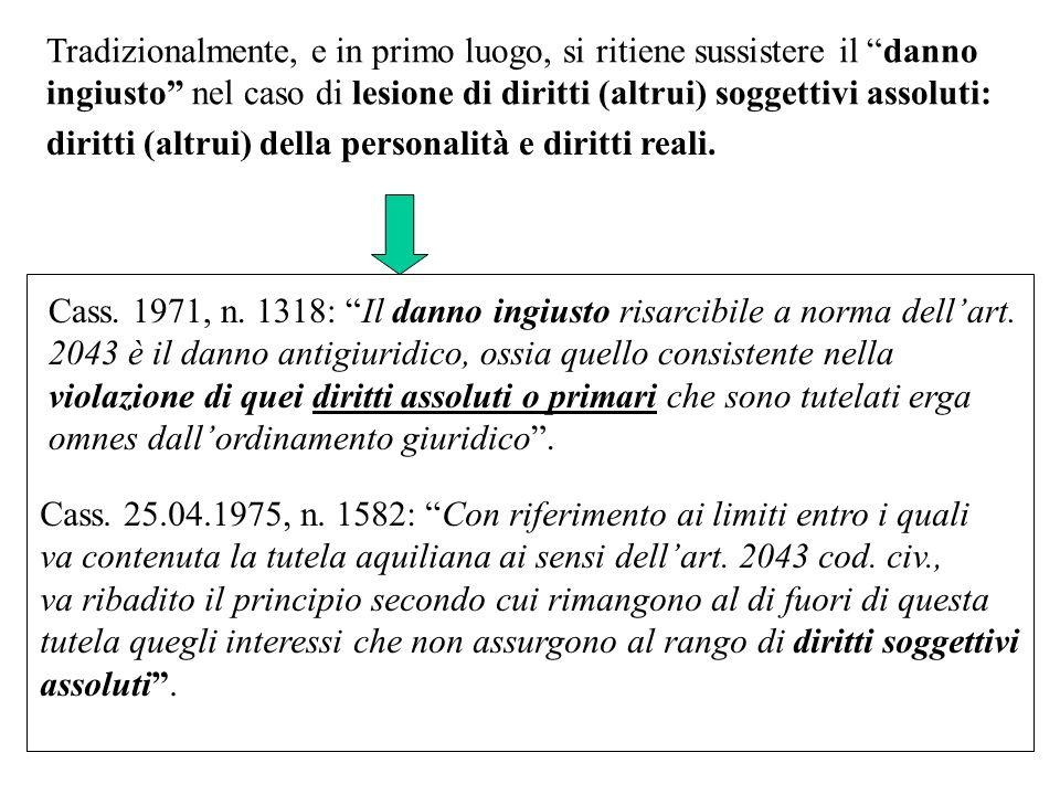 Cass. 1971, n. 1318: Il danno ingiusto risarcibile a norma dellart. 2043 è il danno antigiuridico, ossia quello consistente nella violazione di quei d