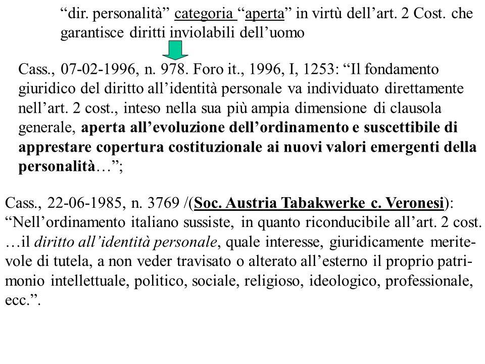 dir. personalità categoria aperta in virtù dellart. 2 Cost. che garantisce diritti inviolabili delluomo Cass., 22-06-1985, n. 3769 /(Soc. Austria Taba