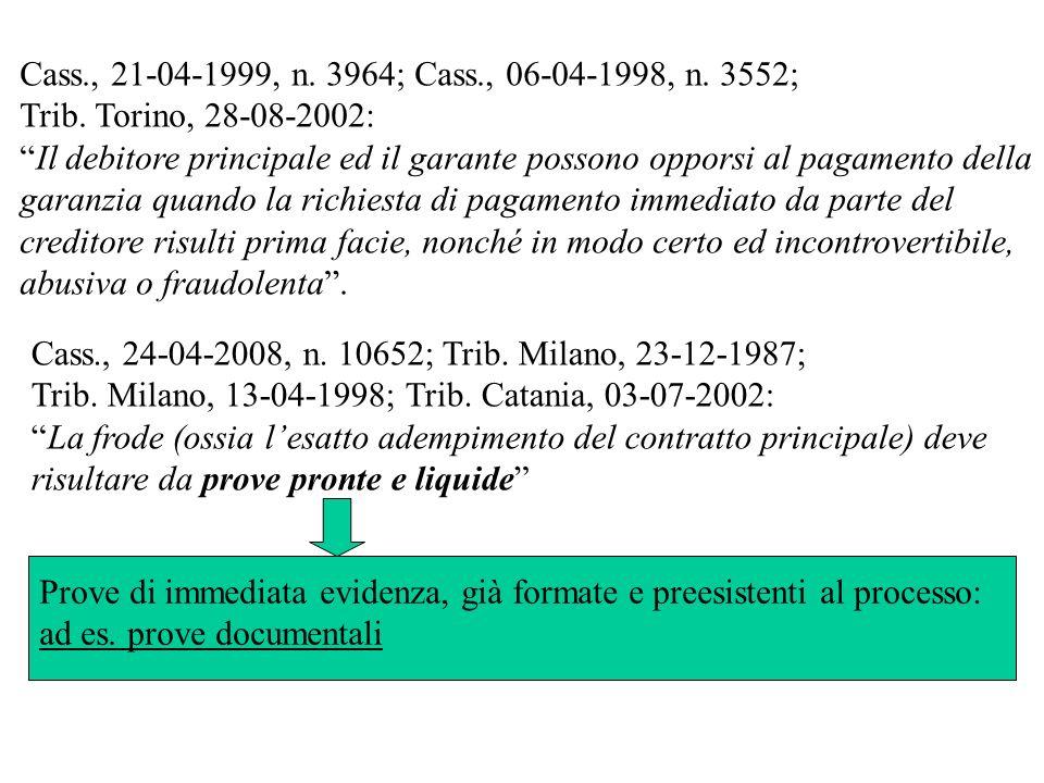 Cass., 24-04-2008, n. 10652; Trib. Milano, 23-12-1987; Trib. Milano, 13-04-1998; Trib. Catania, 03-07-2002: La frode (ossia lesatto adempimento del co