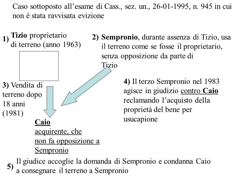 Tizio proprietario di terreno (anno 1963) 1) 2)Sempronio, durante assenza di Tizio, usa il terreno come se fosse il proprietario, senza opposizione da parte di Tizio Caio acquirente, che non fa opposizione a Sempronio 3) Vendita di terreno dopo 18 anni (1981) 4) Il terzo Sempronio nel 1983 agisce in giudizio contro Caio reclamando lacquisto della proprietà del bene per usucapione 5) Il giudice accoglie la domanda di Sempronio e condanna Caio a consegnare il terreno a Sempronio Caso sottoposto allesame di Cass., sez.