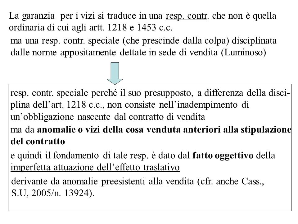 La garanzia per i vizi si traduce in una resp.contr.