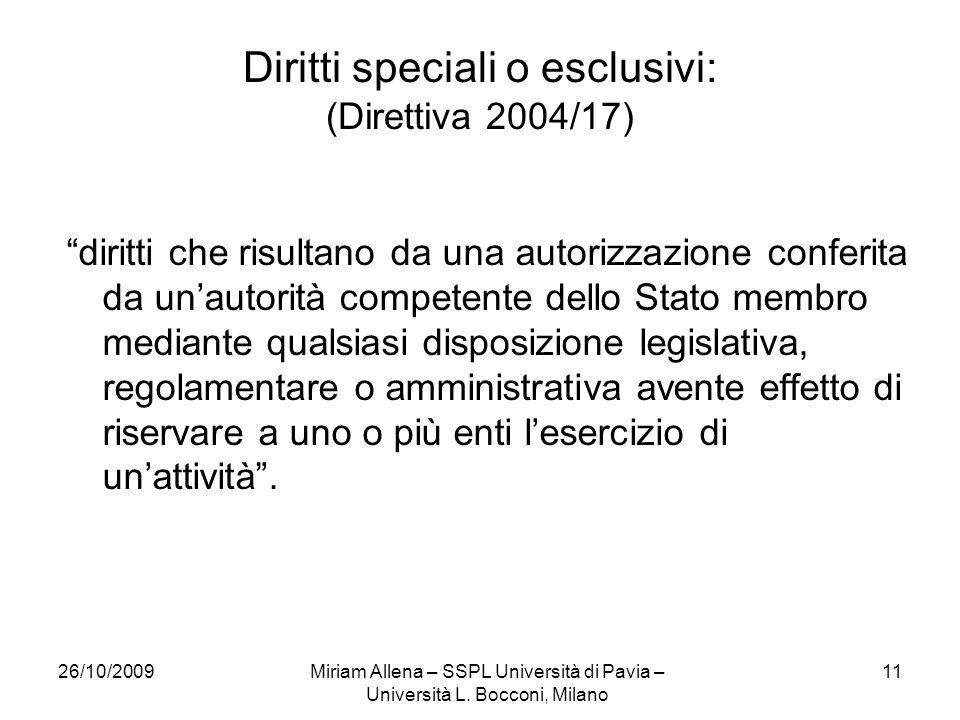 26/10/2009Miriam Allena – SSPL Università di Pavia – Università L.