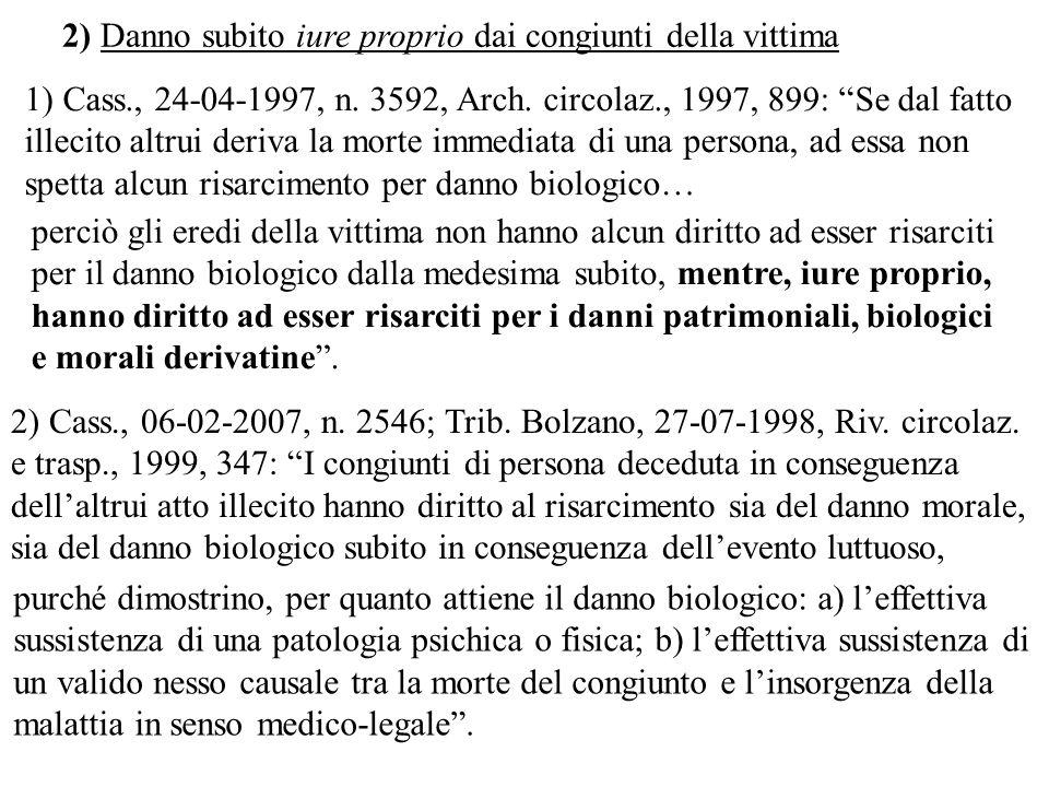1) Cass., 24-04-1997, n. 3592, Arch. circolaz., 1997, 899: Se dal fatto illecito altrui deriva la morte immediata di una persona, ad essa non spetta a