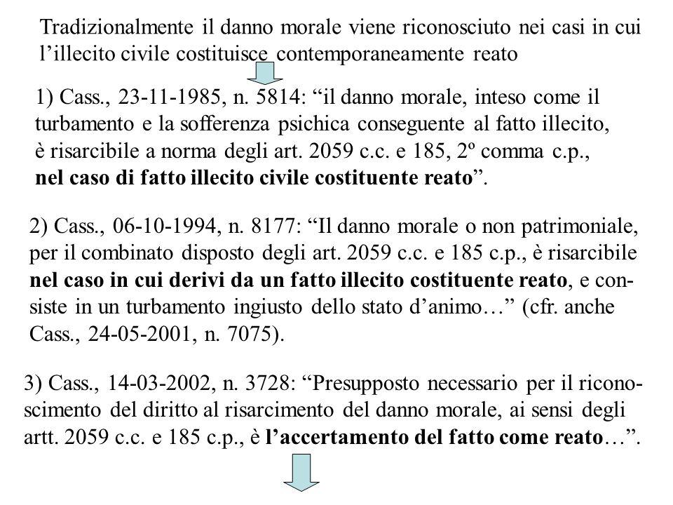 1) Cass., 23-11-1985, n. 5814: il danno morale, inteso come il turbamento e la sofferenza psichica conseguente al fatto illecito, è risarcibile a norm