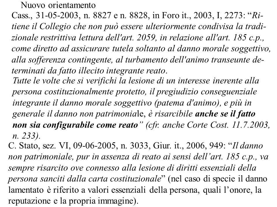 Cass., 31-05-2003, n. 8827 e n. 8828, in Foro it., 2003, I, 2273: Ri- tiene il Collegio che non può essere ulteriormente condivisa la tradi- zionale r