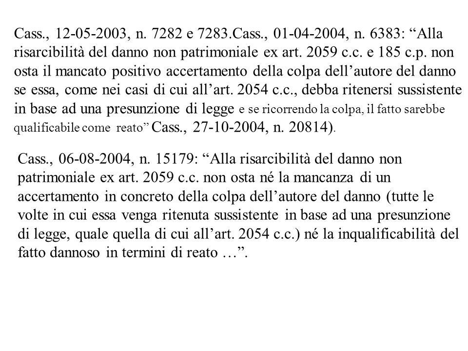 Cass., 06-08-2004, n. 15179: Alla risarcibilità del danno non patrimoniale ex art. 2059 c.c. non osta né la mancanza di un accertamento in concreto de