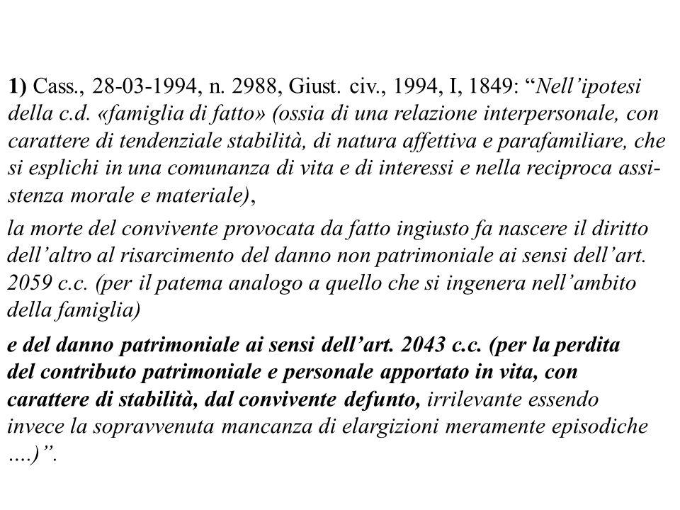 1) Cass., 28-03-1994, n. 2988, Giust. civ., 1994, I, 1849: Nellipotesi della c.d. «famiglia di fatto» (ossia di una relazione interpersonale, con cara