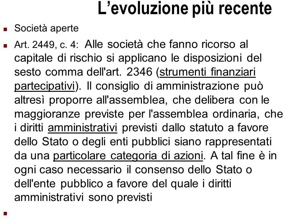 Università Commerciale L.Bocconi - Milano 15 Levoluzione più recente Società aperte Art.