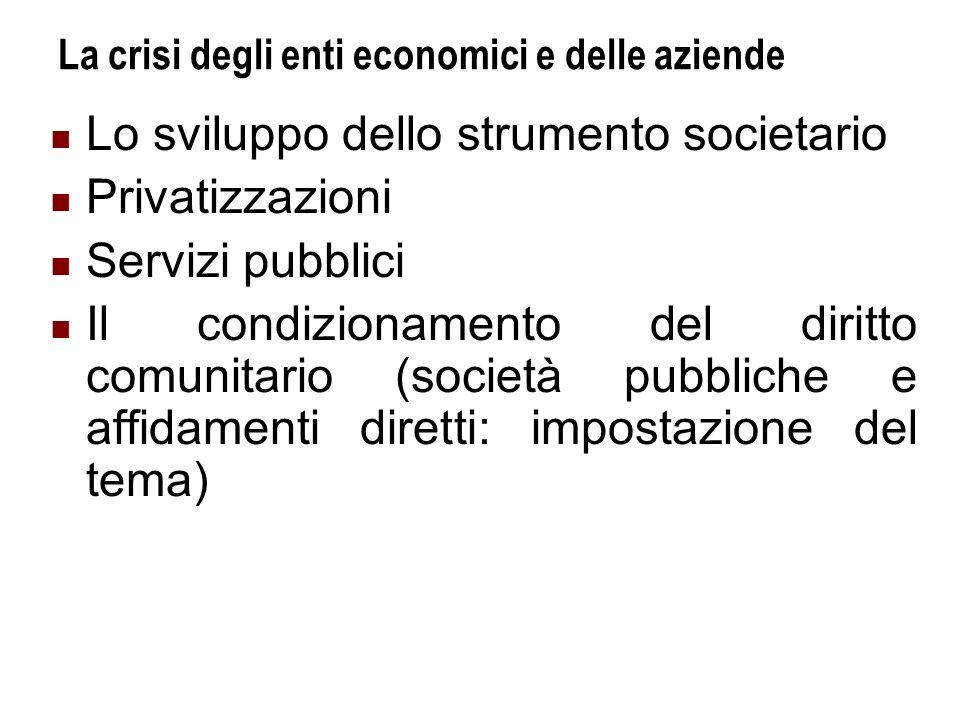La crisi degli enti economici e delle aziende Lo sviluppo dello strumento societario Privatizzazioni Servizi pubblici Il condizionamento del diritto comunitario (società pubbliche e affidamenti diretti: impostazione del tema)