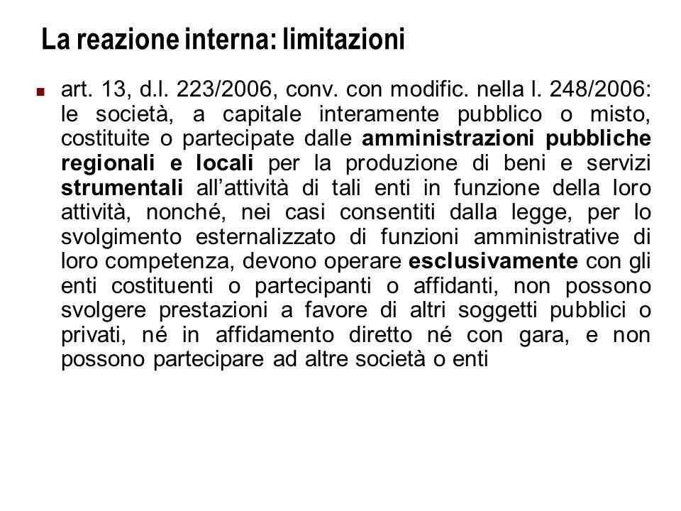 Università Commerciale L.Bocconi - Milano 9 La reazione interna: limitazioni Art.