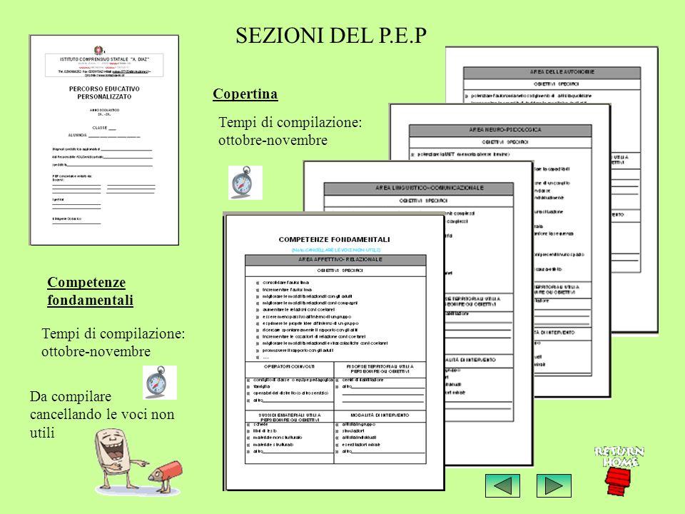 SEZIONI DEL P.E.P Copertina Tempi di compilazione: ottobre-novembre Competenze fondamentali Tempi di compilazione: ottobre-novembre Da compilare cancellando le voci non utili