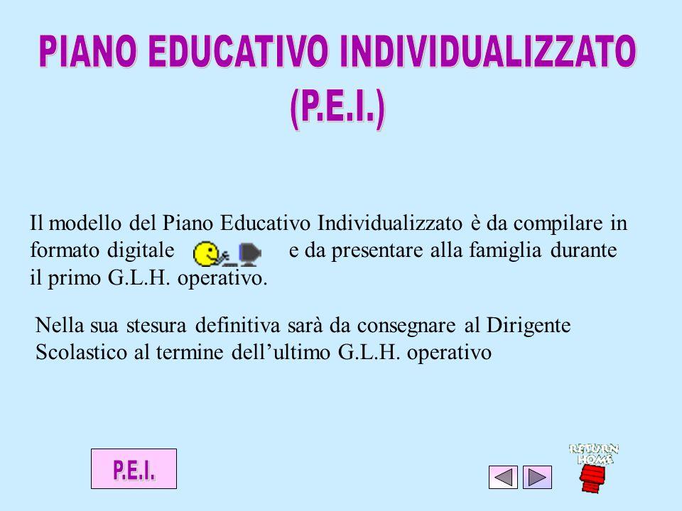 Il modello del Piano Educativo Individualizzato è da compilare in formato digitale e da presentare alla famiglia durante il primo G.L.H.