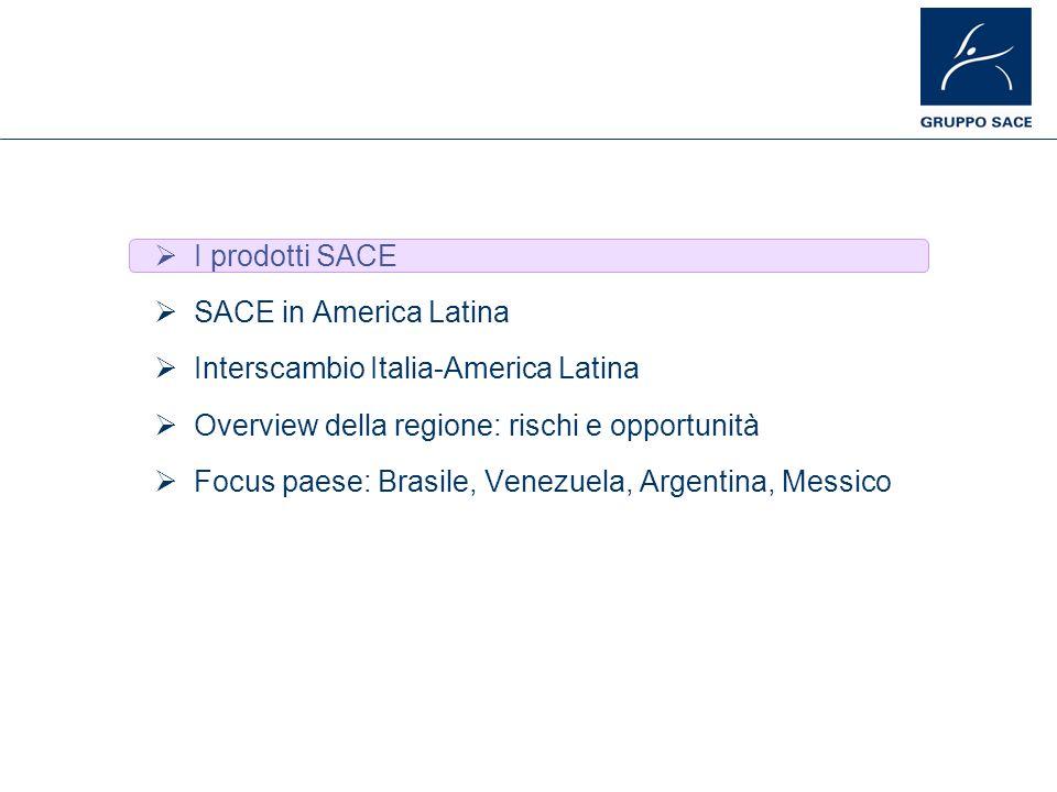 I prodotti SACE SACE in America Latina Interscambio Italia-America Latina Overview della regione: rischi e opportunità Focus paese: Brasile, Venezuela